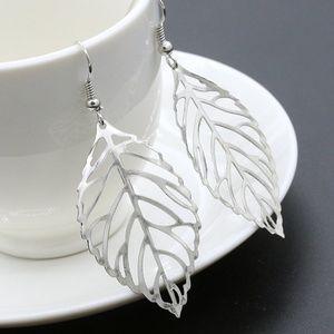 Silver Filigree Open Leaf Dangle Earrings